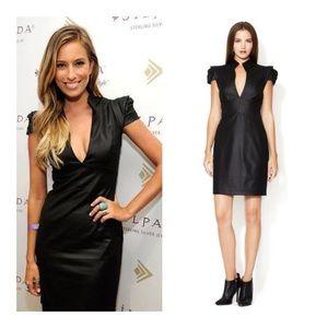 BLACK HALO Hanna Mini Dress Metallic Black 4 NWOT